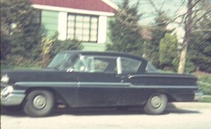 1958 Chevy Biscayne in front of Elizabeth Drive